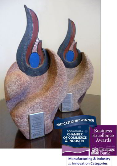 Category Winner trophies from 2012 Business Excellence Awards