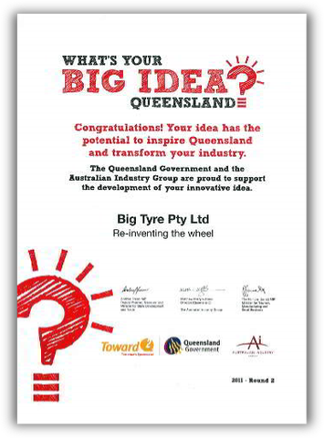 Big Tyre's certificate from What's Your Big Idea Queensland?