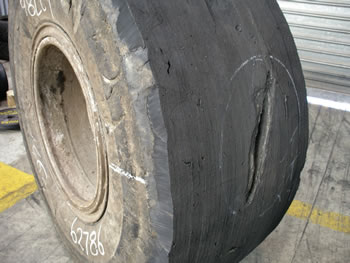 Injury in a foam filled tyre