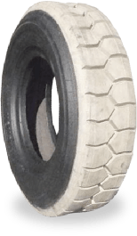 Forklift tyre retreaded with white rubber