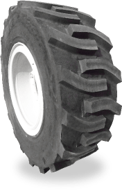 Foam filled tyre retreaded with non-directional lugs