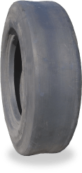 Forklift tyres retreaded with a slick tread